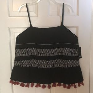 4/$20 NWT a.n.a. Black Embroidered Fringe Top XL